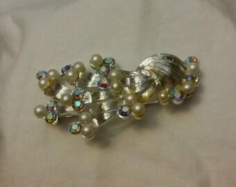 Vintage Coro brooch silvertone pearl brooch AB rhinestone brooch