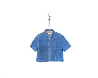 Vintage 90s Cropped Button Up Denim Shirt