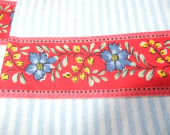 Set of 2 Light Blue Stripe Cotton Kitchen Towels with Red Floral Banding