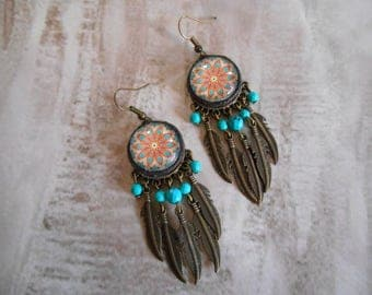 Earring bohemian style , feather , dream catcher style