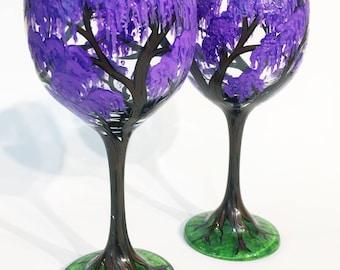 Wisteria Flowering Tree Wine Glasses
