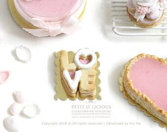 Dollhouse Miniature- Valentine's LOVE Letters Sandwich Cookie Patisserie