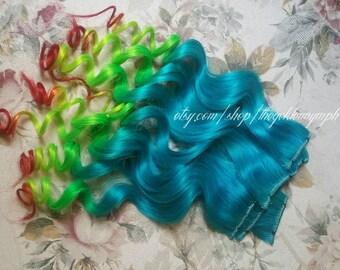 Mermaid Series - Aqua Rasta - Set of 2 clip in 100% human hair extensions - Blue Hair - Dip Dyed - Ombre Hair - Rasta