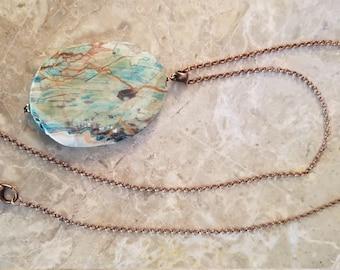Sliced Jasper Pendant Necklace
