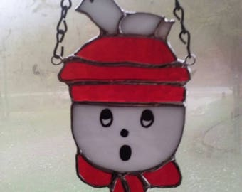 Snowman with dove on his hat Stained glass Suncatcher 7 inches