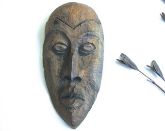 Carved Wood Signed Haiti Wall Mask • Vintage Haitian 1960s Hand-Carved Signed Gray-Blue Stained