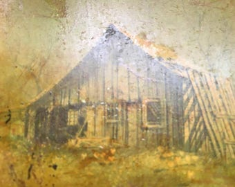 Vintage Wooden Plaque  Haunted Old Barn Scene