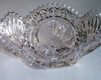 Hofbauer Byrdes Lead Crystal Large Handled Table Bowl