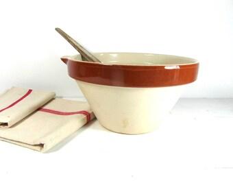 large mixing bowl, glazed cruche, stoneware bowl, French vintage, pottery cooking pot, Provencal bowl, French country decor, boho decor.