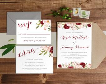 DIY Printable Burgundy, Blush and Cream Watercolour Floral Wedding Invitation Main Invitation | Details | RSVP | Woodland Theme