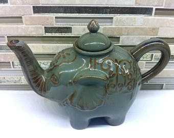 Stoneware teapot etsy - Elephant shaped teapot ...