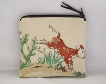 Western Coin Purse Zippered Change Purse with Red Horseshoe Lining