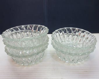 Vintage Glass Sherberts, Ice Cream Dishes or Dessert Bowls Set of 5