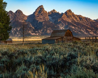 Grand Teton Photography Print - Fine Art Picture of Moulton Barn Nestled in Sagebrush Early Morning Along Mormon Row in Western Wyoming