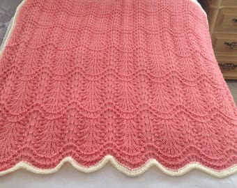 Hand knit lacy baby blanket for girl