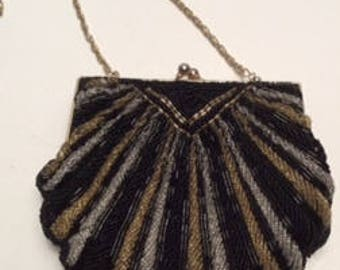 Vintage Silver/Black/Gold Beaded scallop shape purse