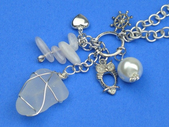 Silver Handmade Necklace with Sea Glass, Real Pearl, Rose Quartz Points, Silver Plated Charms and Silver Chain