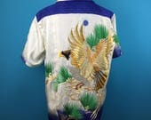 Hawk, delicate embroidery, vintage silk, Hawaiian shirt, Japanese vintage, US size L