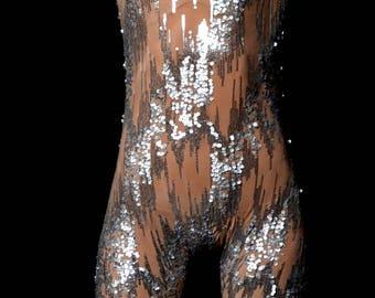 Nude bodysuit, sheer leotard, sparkling sheer mesh, flesh-toned bodysuit embellished with Silver Casacata sequined designs Dance Suit