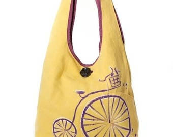 Yellow bike Messenger bag hand painted, fancy style
