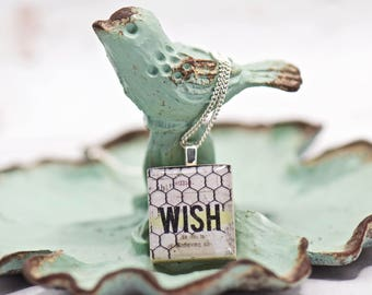 Wish Pendant Necklace. Scrabble Tile. Make a Wish. Gifts for Her. Boho Chic. Word Necklace. Girl Gifts. Boutique Style. Stocking Stuffer.