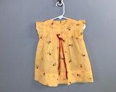 1960s Yellow Gingham Girls Dress / Vintage Gingham Flocked Floral Little Girls Dress / Floral 2T 12-24 Mo
