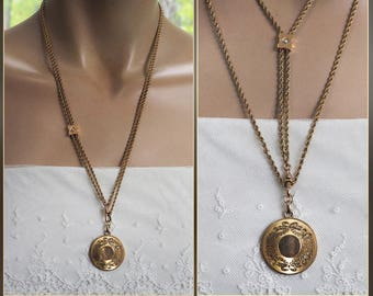 ANTIQUE VICTORIAN SLIDE Necklace & Gold Filled Photo Locket  - Ladies Watch Chain - Seed Pearls - Signed W.C.C.