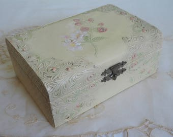 CELLULOID DRESSER BOX -   Antique Vanity Box - Edwardian Jewelry Box - Embossed Raspberries & Flowers