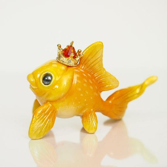 GOLDIE THE GOLDFISH - Handmade Polymer Clay Sculpture With a Swarovski Crystal