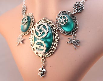 Necklace/necklace, earrings - steampunk gears Aqua