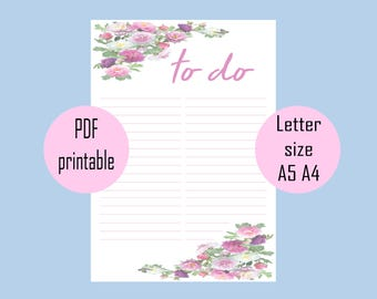 Printable to do list, digital prints, daily planner, printable planner pages, a4, instant download, to do list printable set, to do list