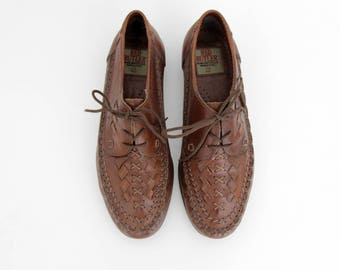 Vintage Shoes // Woven Leather Mocassin Lace Up Shoes