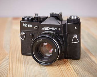 Film Camera Zenit 12SD. With original leather case.SLR Film Camera. Working Old Camera.