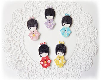 Pack of 10 Kokeshi Doll Shaped Wooden Button Embellishments For Scrapbooking, Cardmaking, Project Life and Pocket Letters - Multi