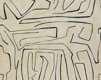 Kelly Wearstler Graffito Drapery, Rod Pocket Drapery Panels, Ring Clip Draperies
