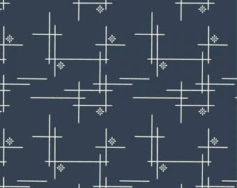 Merry Hatch in Dusk, KNIT, Merryweather, Birch Organic Fabrics, modern blender, fabric by the yard, navy blue fabric