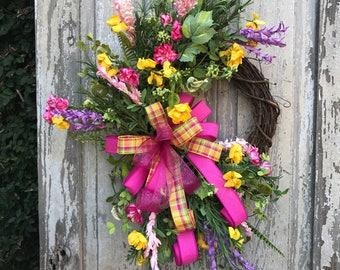 Spring Wreath, Spring wreath for door,Wildflower Wreath, Summertime Wreath, Spring Wreath, Front Door Wreath, pink wreath,Mothers day Wreath