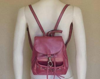 25% off SALE 90s Bubblegum pink shimmery vegan mini backpack purse