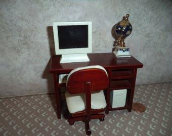 1:12 scale Dollhouse miniature Computer Desk w/ computer and globe
