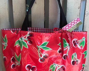 Oil Cloth Tote Bag in Red Cherry & Red Gingham