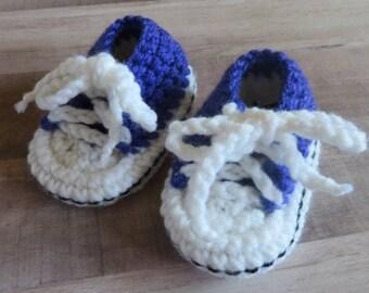 Purple Crocheted Baby Tennis Shoe Booties