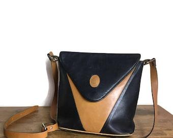 80s red leather handbag // soft bright red handbag // foldover