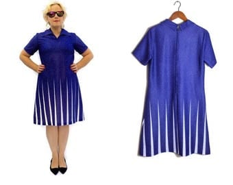 70s mod dress // blue white spotty dress // retro polyester dress // nautical dress // blue sun dress  // 80s mod dress // UK 14 U.S 10