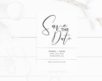 Printable save the date no photo, Minimalist Save the Date Postcard, Wedding Announcement, Modern Invitation, Wedding Card Template, sd001