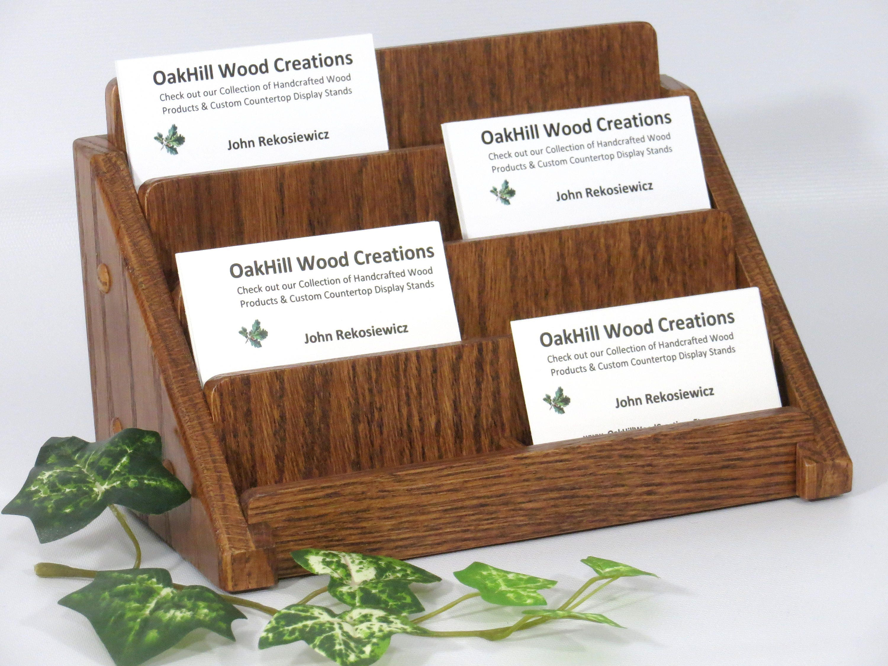Multiple Business Card Holder, Oak Wood, 4 Tier, 8 Card, Divided ...