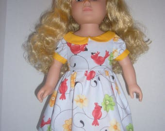 """18"""" Doll Clothes- Red Cardinals on Gray"""