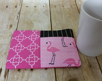 Mug Rug, Coaster, Flamingos, Pink,  Polka Dots, Quilted Fabric, Embroidered, Quilted Coaster. Black, White,
