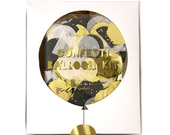 "CLEARANCE! Confetti Balloon Kit (Set of 8) Clear 18"" Latex Balloons + Gold, Silver + Black Confetti for Graduation, Anniversary, New Years"