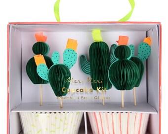 Cactus Baking Kit (Set of 24) - Meri Meri Let's Explore Cupcake Liners and Toppers