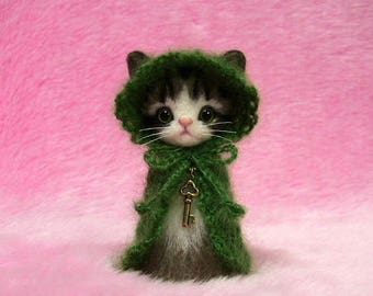 "Needle Felted Brown Tabby Cat in Cape with Hood: Japanese ""Kokeshi"" Doll Style Miniature Needle Felt Cat, Needle Felting"